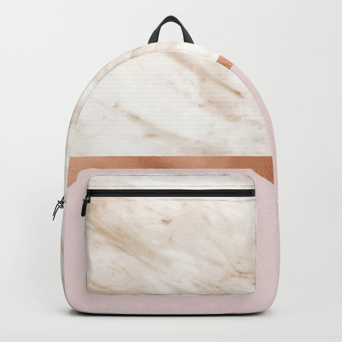 Caramel marble on rose gold blush Backpack