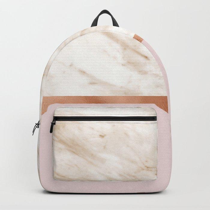Caramel marble on rose gold blush Backpack