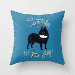 Captain Schipperke (Blue and Beige) Throw Pillow