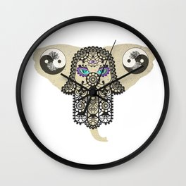 Hamsa Elephant Ying Yang Tree A403 Wall Clock