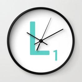 Aqua Letter L Scrabble Tile Wall Clock