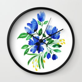 Beautiful Watercolor Floral Element Wall Clock