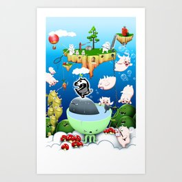 Some pigs fly in the rain Art Print