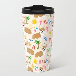 Corgi Summer Beach design - cute corgis at the beach Travel Mug