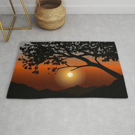 Orange Sunset By the Mountain Tree Tabletop RPG Landscape Rug