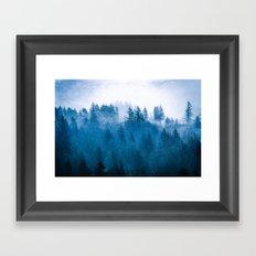 Fog Forest - Blue Winter Day Framed Art Print