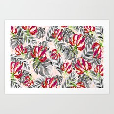 Tropical plants pattern and watercolor flowers Art Print