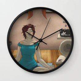 Yoga wit cat Wall Clock