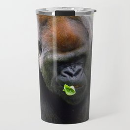 Male Silverback Lowland Gorilla with Smirk and Lettuce in Mouth Travel Mug
