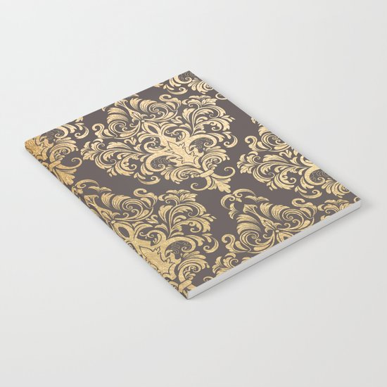 Gold swirls damask #7 Notebook