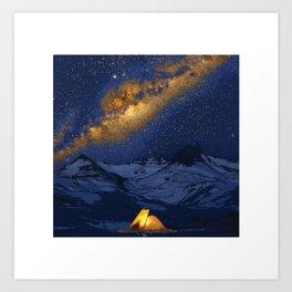 Glowing Tent Under Milky Way Art Print