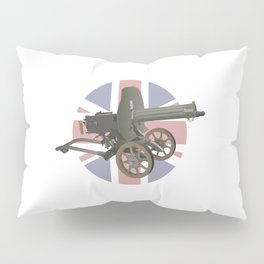 Maxim Gun with British Flag Pillow Sham