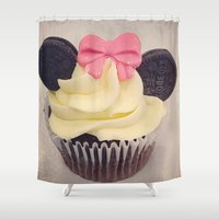 minnie mouse Shower Curtains featuring Minnie Mouse Cupcake by Loulabelle