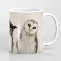 wall clock Mugs featuring The Owl's 3 by Isaiah K. Stephens