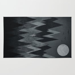 Dark Mystery Abstract Geometric Triangle Peak Wood's (black & white) Rug