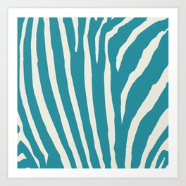 Teal & Cream Zebra Print Art Print