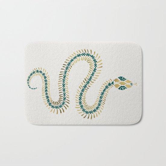 Snake Skeleton – Emerald & Gold Bath Mat