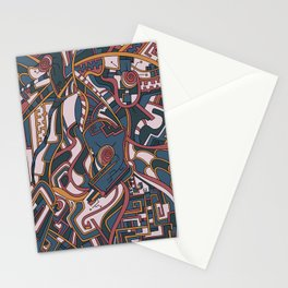 Wandering Abstract Line Art 44: Orange Stationery Cards