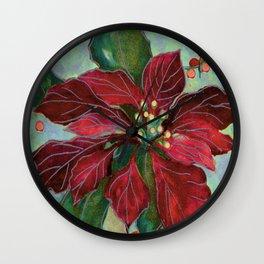 poinsettia wax batik Wall Clock