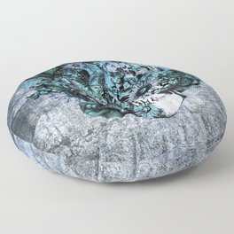 Blue grunge ohm skull Floor Pillow