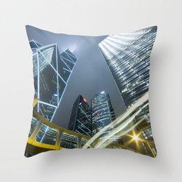 Hong Kong Night City Throw Pillow