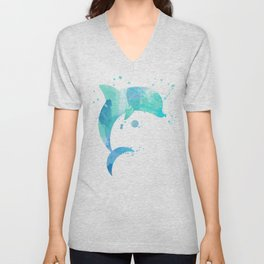 Turquoise Watercolor Dolphin Unisex V-Neck