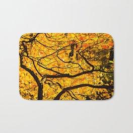 Golden Veins Of Autumn Bath Mat