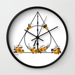Deathly Hallows in Gold and Gray Wall Clock