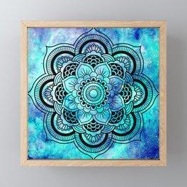 Galaxy Mandala Aqua Indigo Framed Mini Art Print