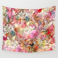 preppy Wall Tapestries featuring Summer Flowers | Colorful Watercolor Floral Pattern Abstract Sketch by Girly Trend