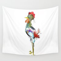 rooster Wall Tapestries featuring rooster by tatiana-teni