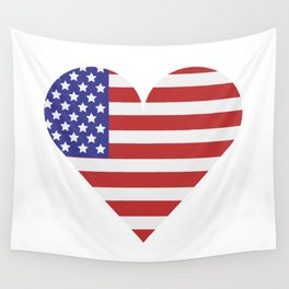 united states flag with heart Wall Tapestry