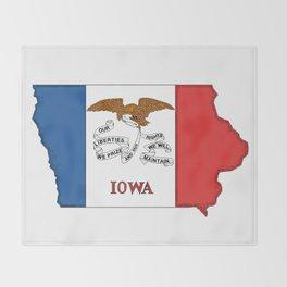 Iowa Map with Iowan Flag Throw Blanket