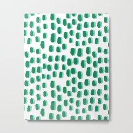 Minimal white and green dots pattern polka dot print basic decor Metal Print