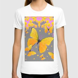 YELLOW BUTTERFLIES FLORAL PINK-GREY ART T-shirt