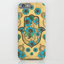 Hamsa Hand -Hand of Fatima Floral Ornament iPhone Case