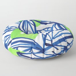 Blue and lime green abstract apple tree Floor Pillow