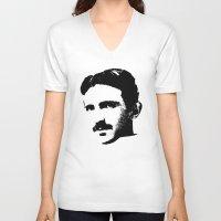 tesla V-neck T-shirts featuring Nikola Tesla by Mobii