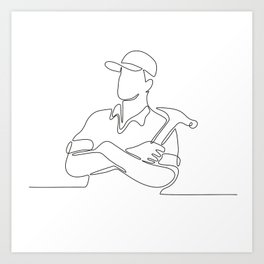 Builder Carpenter Continuous Line Art Print