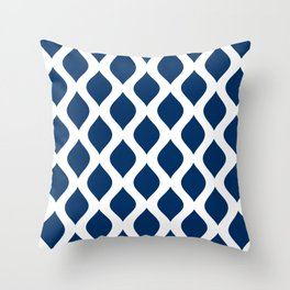 Dark blue and white curved lines pattern Throw Pillow