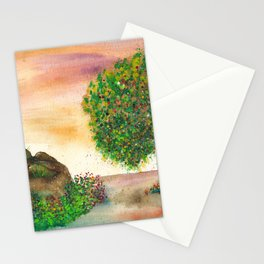 Countryside Watercolor Illustration Stationery Cards