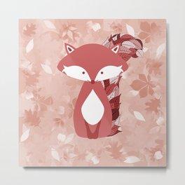 Cute Autumn FOX Design Metal Print