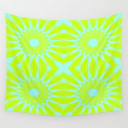 Green & Aqua Pinwheel Flowers Wall Tapestry