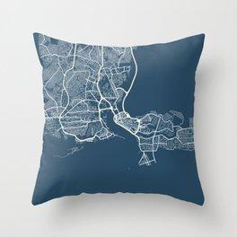 Lagos Blueprint Street Map, Lagos Colour Map Prints Throw Pillow