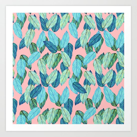Tropical leaves on Pink Art Print