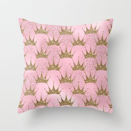 Royal Mermaid Crown Throw Pillow