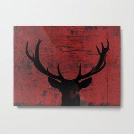 Industrial Deer Animal on Red Rust A313 Metal Print