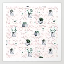 Potted Succulents Pink Polka Dots Art Print