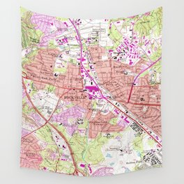 Vintage Map of Rockville Maryland (1965) Wall Tapestry