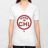 chicago bulls V-neck T-shirts featuring Made in Chicago CHI BULLS by DCMBR - December Creative Group